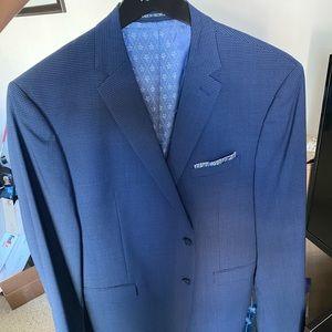 Men's 44L 34W34L Penguin Blue Checkered Suit